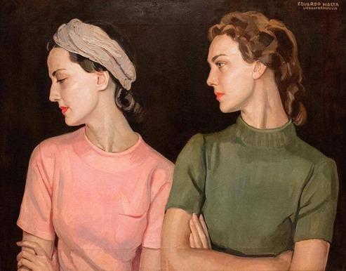 Portrait de deux jeunes femmes 1939 Eduardo Malta,