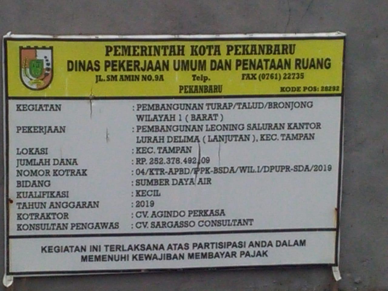 Lembaga Lidik Kasus Minta Inspektorat Periksa Proyek Turap di Jalan Delima Kota Pekanbaru Tahun 2019