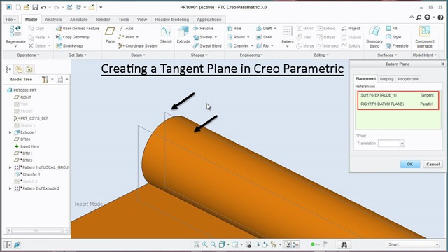 Creating a Tangent Plane in Creo Parametric
