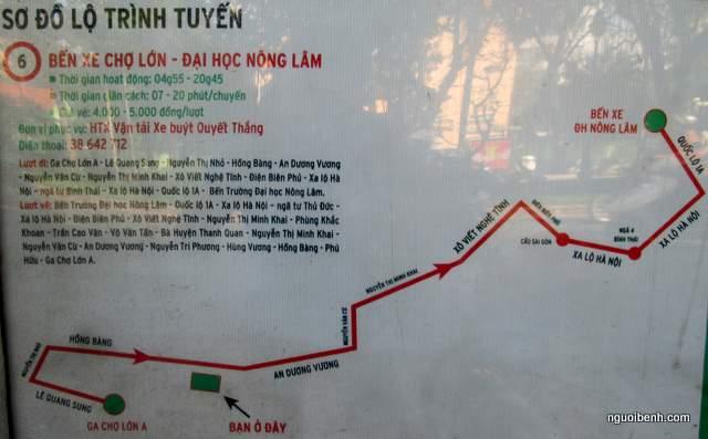 Tuyến xe buýt số 6 đi ngang qua bệnh viện đại học y dược TPHCM