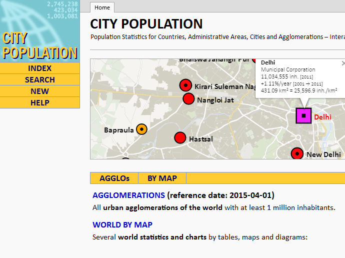 City Population (Nüfus sayılarını öğrenin)