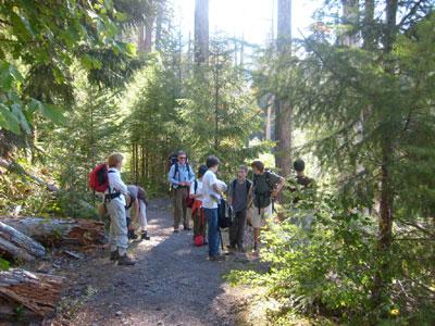 Taking a break along the trail
