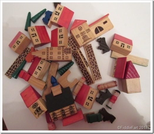 Wooden brick village toy