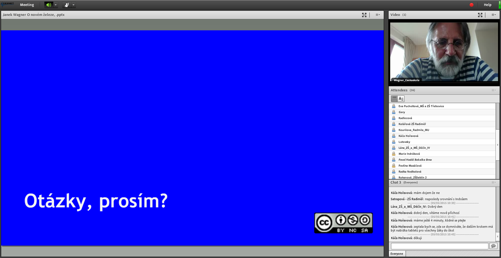 Webinář využívající GoToMeeting jako akolení učitelů a akolských zaměstnanců při práci se akolní mat