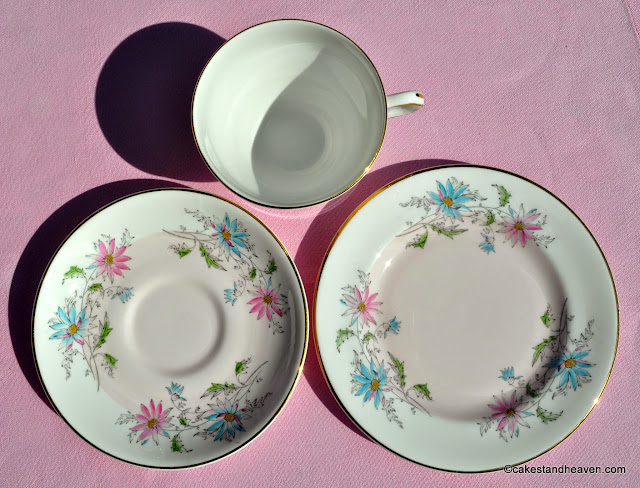 Pink and Blue Hand Painted 1960s Bone China Trio