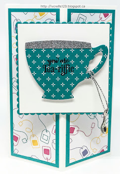 Linda Vich Creates: June Stamping Wind Up. Detailed Corner Fold card with the Cupas & Kettles Framelits.