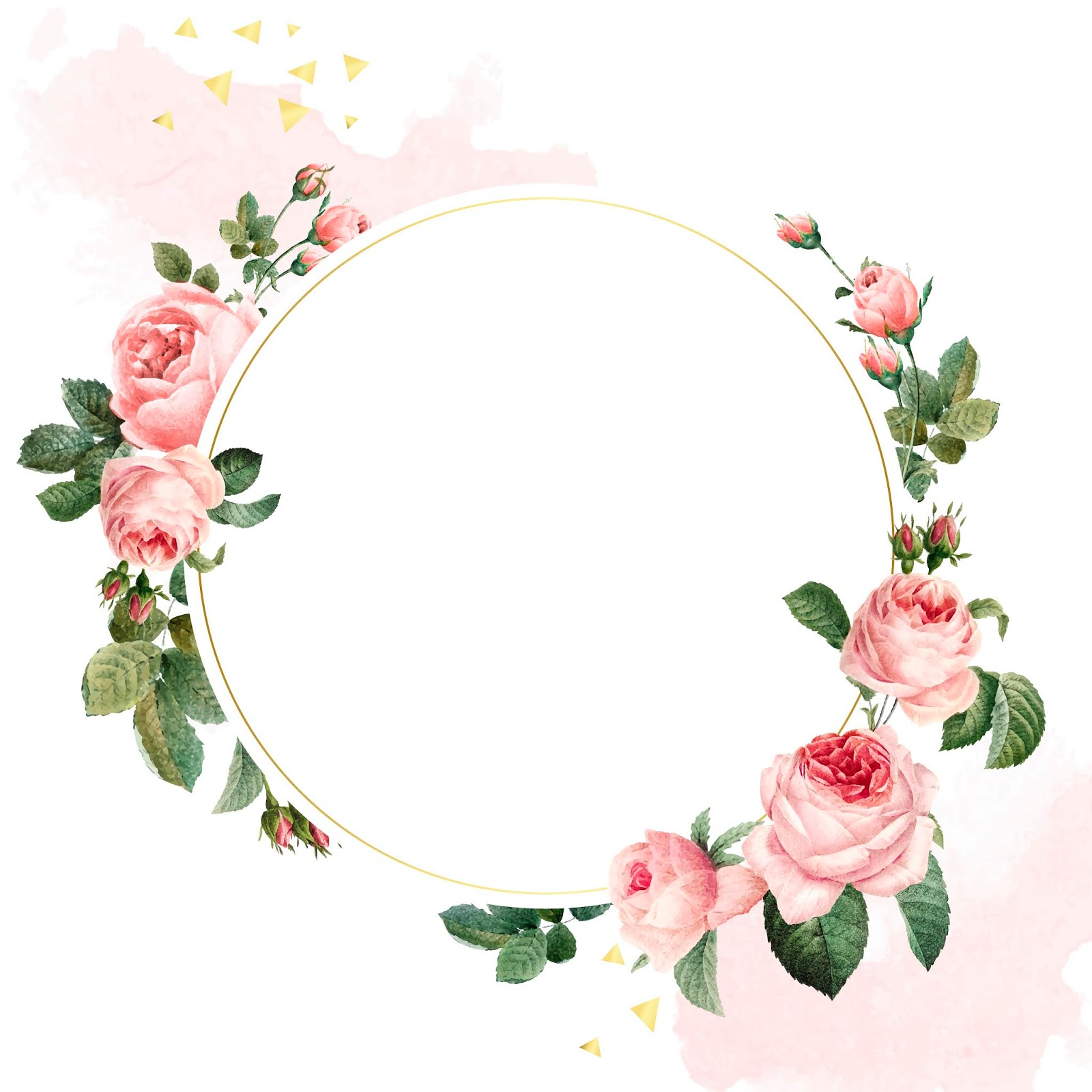 Blank Round Pink Roses Frame Vector Free Download Vector CDR, AI, EPS and PNG Formats