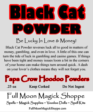 Details about Black Cat Powder Voodoo Hoodoo Luck In Money Love Spell  Material Ritual Dust
