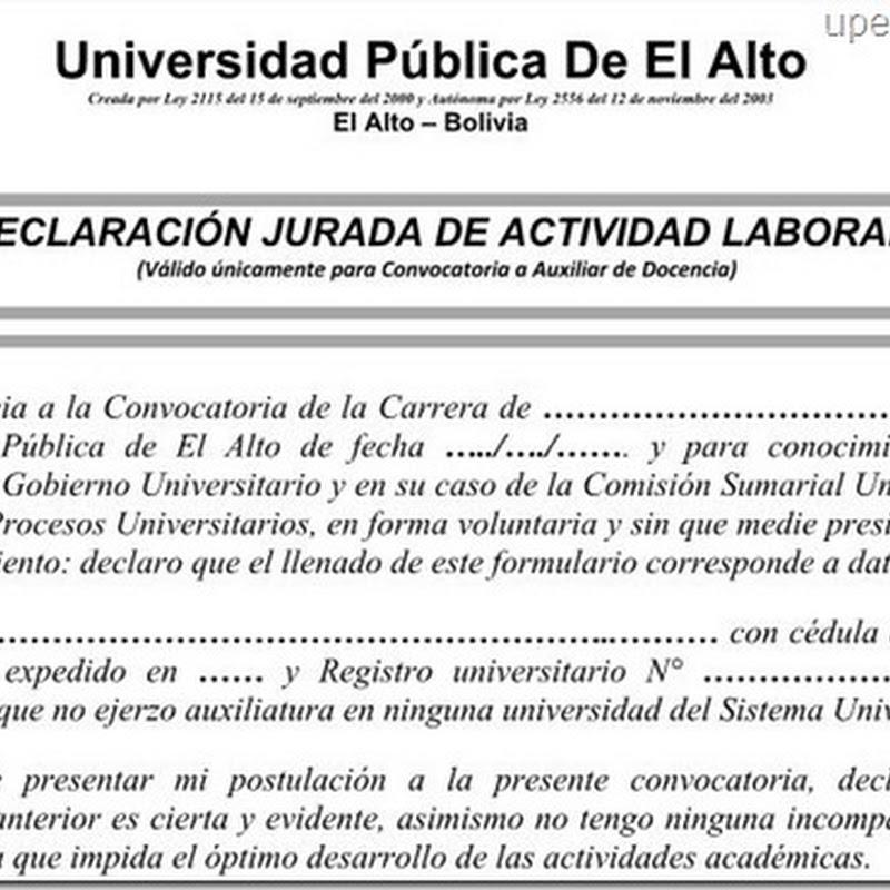 UPEA: Declaración jurada de no ser Auxiliar de Docencia en ejercicio en otra universidad del sistema (Word)