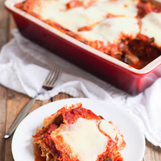 Vegetarian Lasagna with Eggplant and Mushroom 'Meat' Sauce.