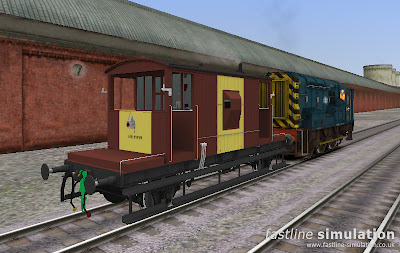 Fastline Simulation: Dia. 1/507 Brake Van for RailWorks in bauxite and yellow livery.