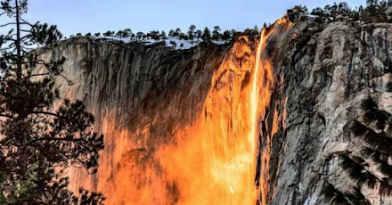Το φαινόμενο του καταρράκτη της φωτιάς στο Εθνικό Πάρκο Yosemite της Καλιφόρνιας