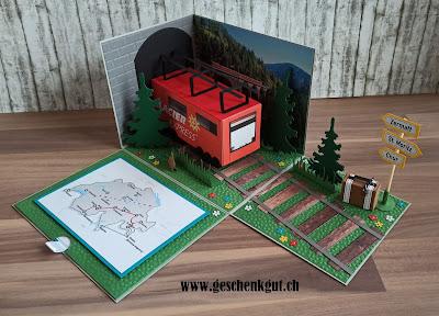 Explosionsbox Überraschungsbox Geschenkbox Glacierexpress Glacier Express Zugfahrt Zugreise