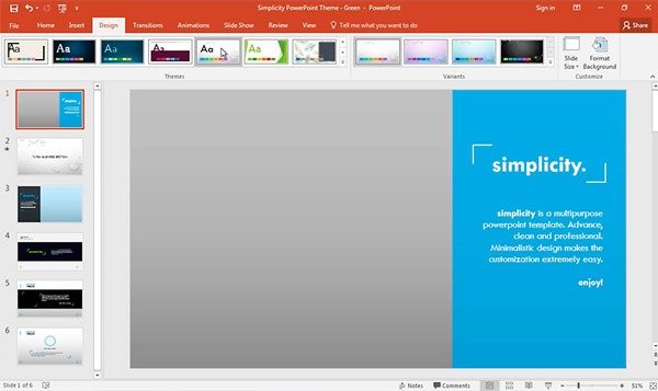 Como cambiar template en PowerPoint, captura