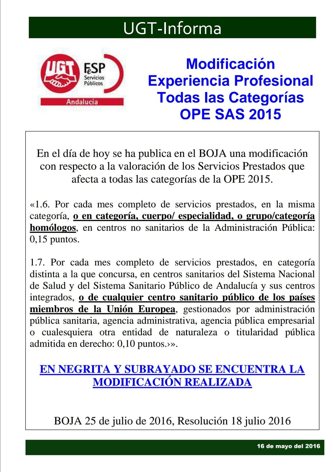 UGT INFORMA MODIFICACIÓN EXPERIENCIA LABORAL OPE SAS 2015