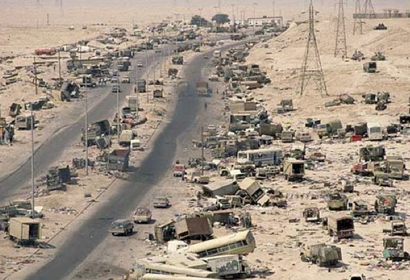 Kuwait - aftermath of Desert Storm attack by American forces 1991; destroyed Iraqi vehicles, equipment and dead bodies (not seen).