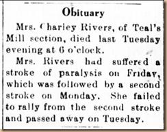 Winnie Susanna Hendricks Rivers Obit.