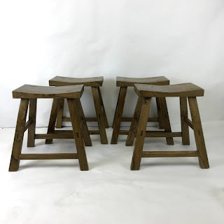 Rustic Work Stool Pair Foursome