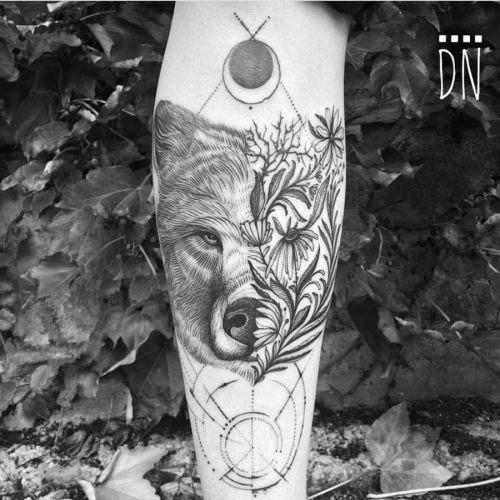 esta_linda_florido_urso_de_tatuagem