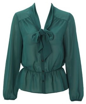 Matalan Teal Pussy Bow Blouse