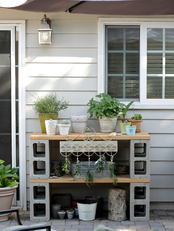 Potting Table Practical Cinder Blocks