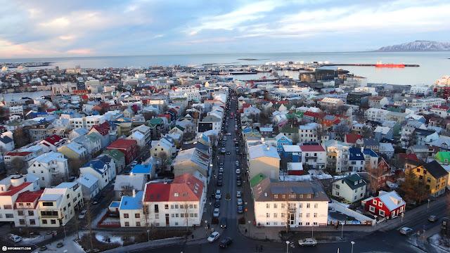 breathtaking view of downtown Reykjavik in Reykjavik, Hofuoborgarsvaeoi, Iceland