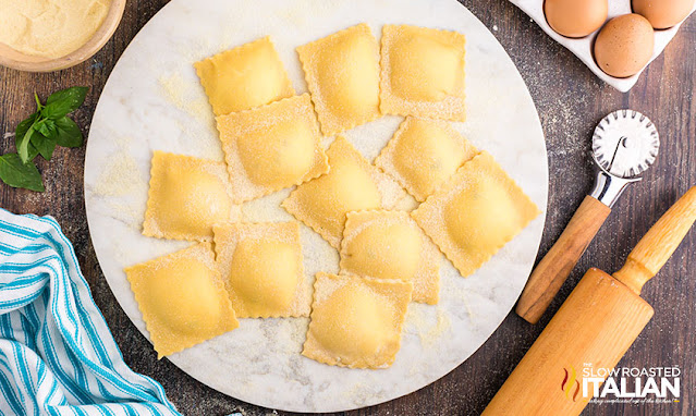 homemade ravioli prepped and ready to cook