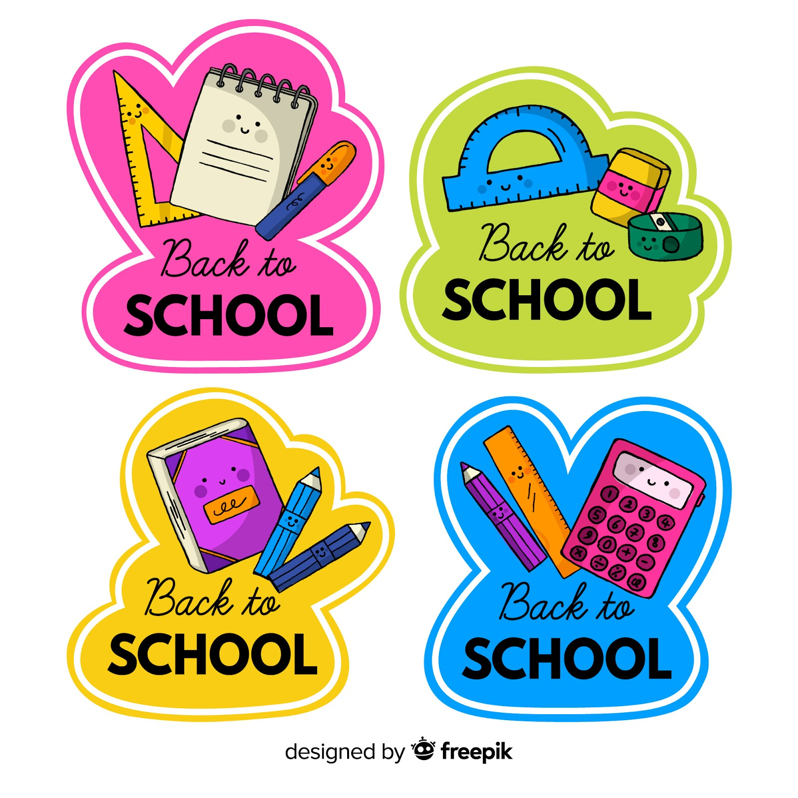 Hand Drawn Back School Badge Collection Free Download Vector CDR, AI, EPS and PNG Formats