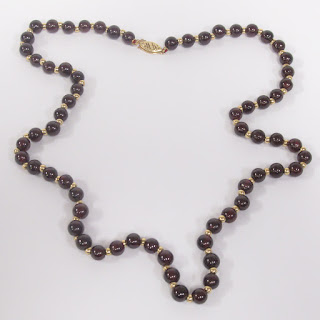 14K Gold and Red Stone Necklace
