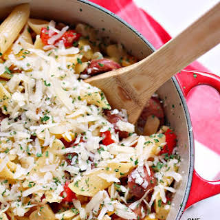 One Pot Pasta with Sausage, Peppers, and Apples.
