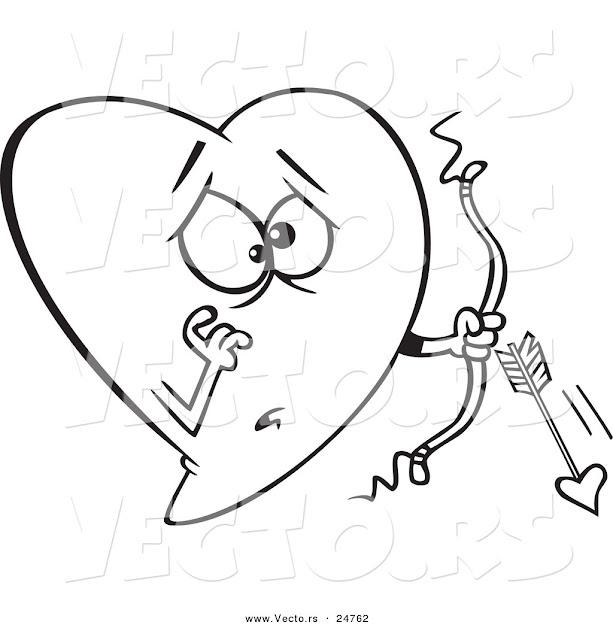 Vector Of Cartoon Heart Cupid With Broken Arrow  Outlined