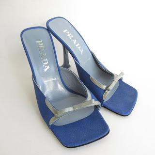 Prada Blue Canvas Sandals