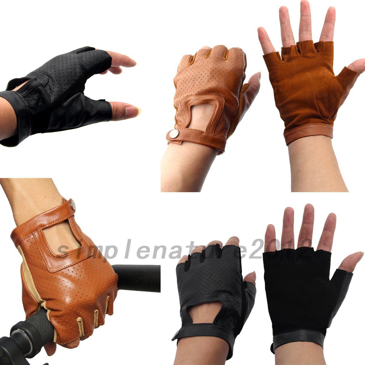 Fingerless driving gloves ebay - Image Is Loading Real Genuine Leather Sheepskin Fingerless Women Driving Gloves