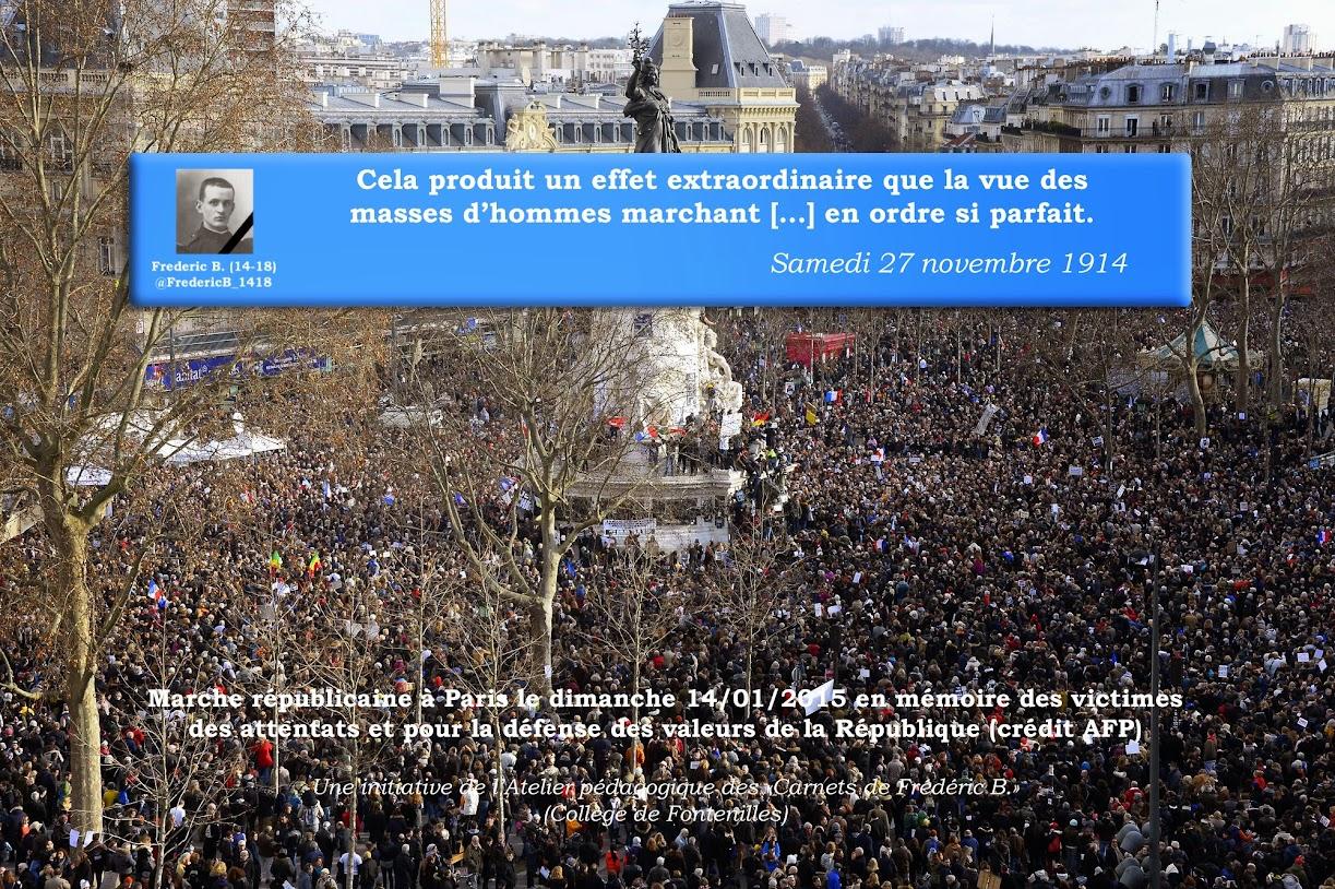 Frédéric B. carnets de guerre Charlie Hebdo #JesuisCharlie Hommage Elèves Collège