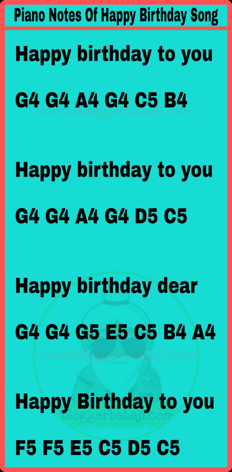 Piano Notes Of Happy Birthday Song