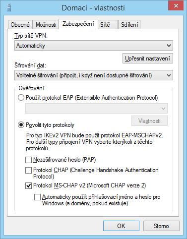 Nastavení VPN klienta