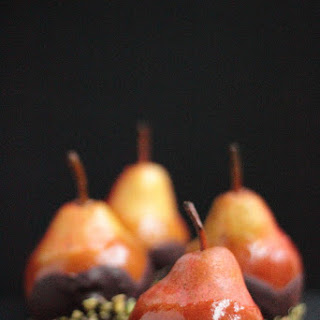 Caramel, Chocolate And Pistachio Dipped Pears