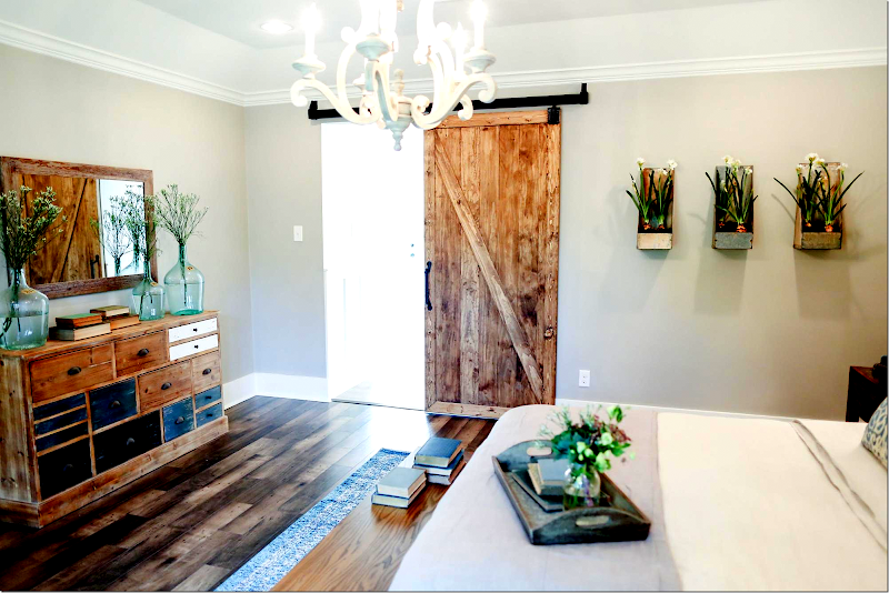 And Here Fixer Upper Used A Raw Wood Barn Door Leading To The Bathroom She Then Matched Furniture In Room
