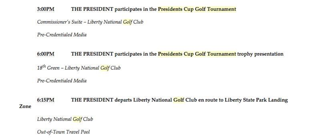 "Trump's itinerary for 1 October 2017 shows that he played in the Presidents Cup Golf Tournament, while the people of Puerto Rico suffered through a disaster that Lt. Gen. Jeffrey S. Buchanan called ""the worst I've ever seen."" Photo: Ana Navarro / Twitter"