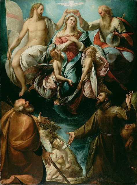 Giulio Cesare Procaccini - Coronation of the Virgin with Saints Joseph and Francis of Assisi - Google Art Project.