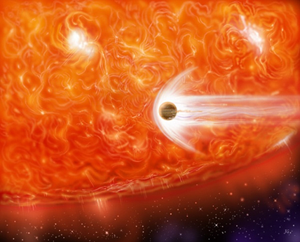 ilustração de um exoplaneta sendo englobado por sua estrela