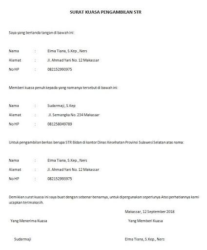 Contoh Surat Kuasa Pengambilan STR