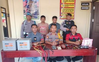 Pencuri Baterai Tower Telkomsel di Bukit Rawi Dibekuk Polisi