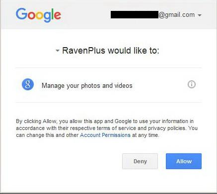 Granting PicasaWeb Access To RavenPlus