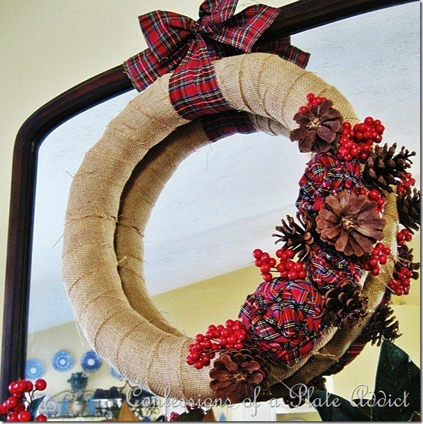CONFESSIONS OF A PLATE ADDICT Burlap and Plaid Wreath