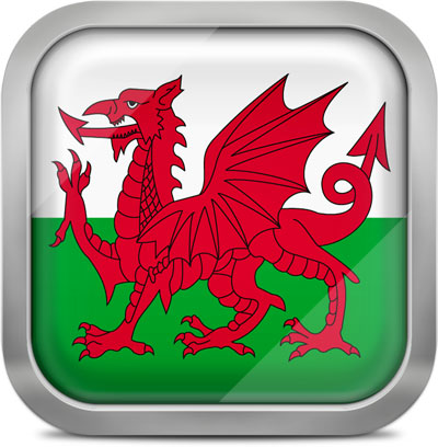Wales square flag with metallic frame