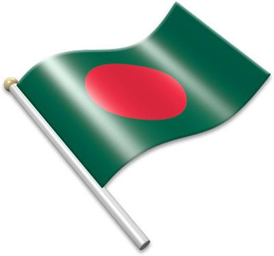 The Bangladeshi flag on a flagpole clipart image