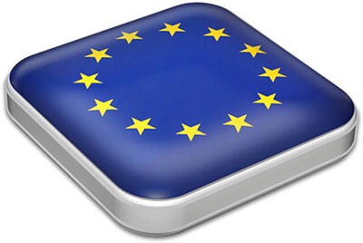 Flag of European Union with metallic square frame