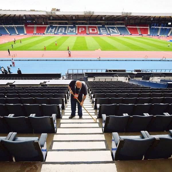 A general view of the athletics and track and field facilities at Hampden Park Stadium is pictured in Glasgow on July 22, 2014, ahead of the start of the 2014 Commonwealth Games which begin on July 23, 2014.