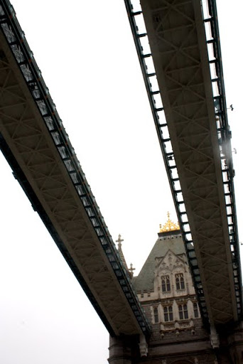 Cantilevered section of Tower Bridge in London England